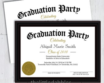 Printable Diploma Graduation Party Invitation -- End Last Day of School, School's Out For Summer, Fake Diploma Graduation Party Invite