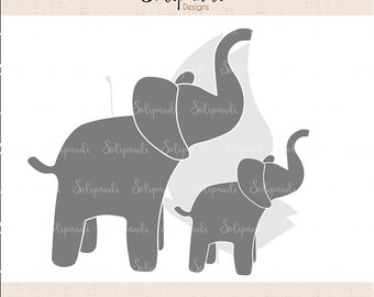 Elephant family - SVG and DXF Cut Files - for Cricut, Silhouette, Die Cut Machines // scrapbooking // paper crafts // solipandi // #137