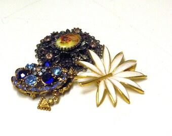 3 Vintage Pendants/Brooch- 1 Victorian w Portrait/Purple Stones, 1 White Enamel w Gold Trim, 1 Cobalt Blue & Light Blue Glass Stones, 1970's