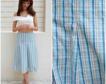1960 Vintage Skirt/ Pastel Gingham Skirt/ Medium Skirt/ Small Skirt/ Gingham Skirt/ Blue Skirt/ Japanese Vintage/ Unique/ Pleated Skirt