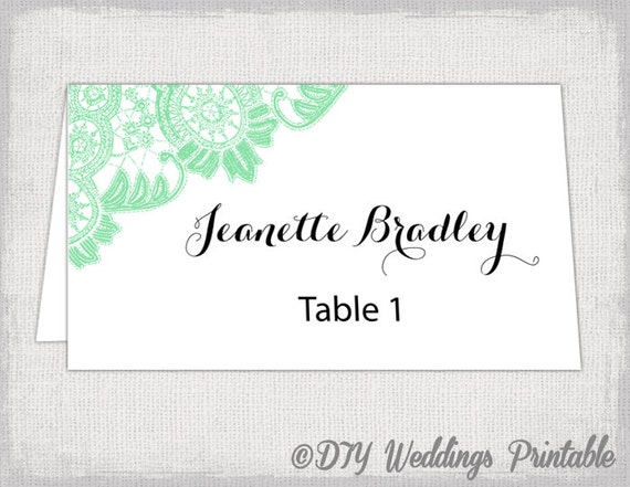 Place Card Template Mint Lace Wedding Place Card Templates - Wedding place card templates free download