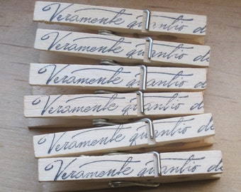 NEW italian script shabby chic clothes pins lot of 6