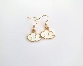 Dainty White Cloud Earrings - Elegant Minimalistic Gold Plated Drop Weather Jewellery