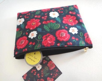 Nathalie Lete zipper bag (Size M) - Small cosmetic pouch - PVC fabric pouch red flower coin purse - Flower Cosmetic Bag - Waterproof pouch