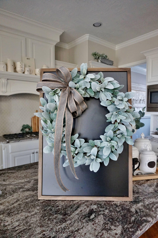 16 to 32 Lamb\'s Ear Grapevine Wreath.
