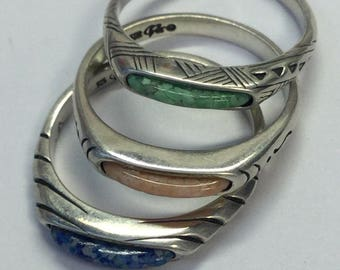 Set Of 3 Carolyn Pollack Relios Sterling Silver Inlaid Stackable Rings Size 9
