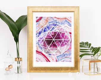 watercolor agate geometry