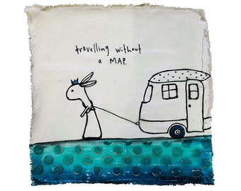 Travelling without a map. Acrylic paint, ink and encaustic on plastered reclaimed fabric. 20 x 20cm. (8 x 8 inches.)