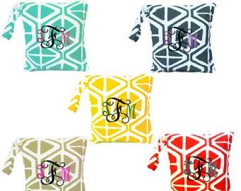 Choose your bag, Monogram wet bag, Wet bathing suit bag, swimsuit bag, cloth diaper bag, waterproof bag, zippered wet bag