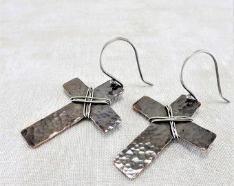 Copper Earrings ~ Christian Earrings ~ Mixed Metal Earrings ~ Religious Earrings ~ Copper Cross Earrings ~ Rustic Earrings ~ Simple Earrings