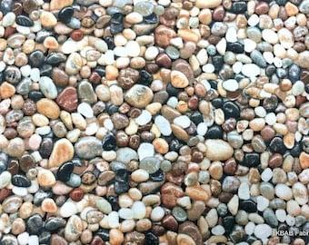 Pebble Beach Fabric Rocks Pebbles Nature Landscape Fabric Mexican Pebble Beach River Rocks Ocean Stones Seaside Rocky Ground Cotton Fabric