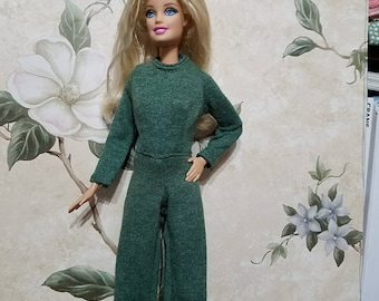 Barbie Doll clothes, Barbie catsuit,  jumpsuit, green, handmade