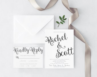 Wedding Invitation - Calligraphy Wedding Invitation - Modern Calligraphy Wedding Invitation - Rachel & Scott