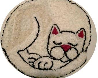 Hand Hooked Sleeping White Cat Rug