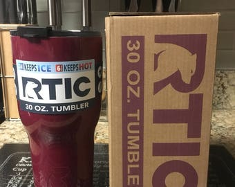 Custom Engraved Maroon 30oz RTIC Tumbler NEW STYLE