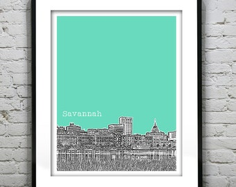 Savannah Skyline Poster Art Print Georgia GA Version 3
