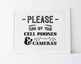 Please Turn Off Your Cell Phones And Cameras, Unplugged Ceremony Sign, Unplugged Wedding Sign, Unplugged Sign, Wedding Signs, Unplugged