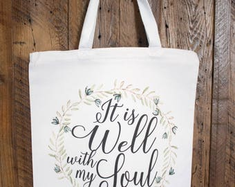 It is well with my soul canvas tote bag -  canvas carryall bag perfect for bible study books