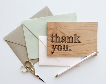 Thank You Serif Wood Card