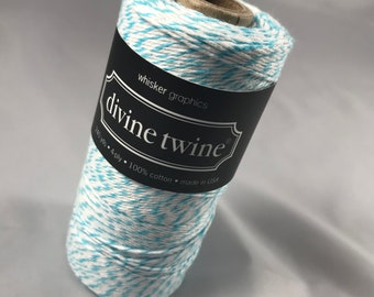Bakers Twine - Divine Twine - 100% Cotton -  One Color - Your Choice of Color and Length - Turquoise Shown - Aqua