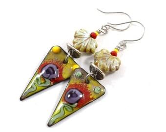 Handmade Earrings, Red and Green Earrings, Boho Chic Earrings, Enameled Earrings, Silver Earrings,Artisan Earrings, Mismatched Earrings
