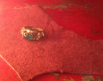 Brass & Green Stone Ring Size 8-9