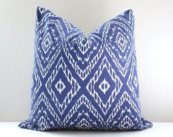 Ikat strie Modern Decorative Designer Pillow Cover Ultramarine Blue White diamonds Throw Cushion suzani geometric boho navy royal azure