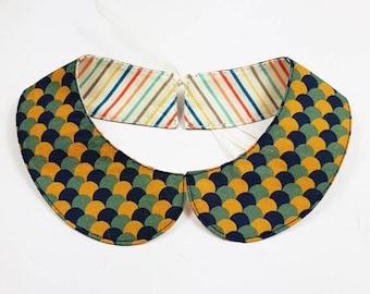 Peter Pan collar reversible wave mustard and striped vintage