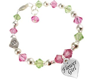 You Pick Colors Flower Girl Sterling Silver Charm Bracelet - peridot green and rose pink or any colors swarovski crystal