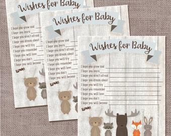 Wishes For Baby, Whitewash Woodland Animal Baby Shower