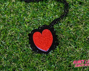 Red Glitter Ornate Heart Necklace, Black and Red Heart, Gothic Heart, Laser Cut Acrylic, Laser Cut Necklace, Laser Cut Jewellery