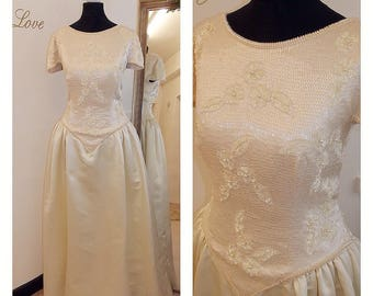 Beaded Wedding Dress, Princess Wedding Dress, Cream, Champagne, Vintage, Saton, Vintage Wedding Dress, UK size 12/14 US size 8/10