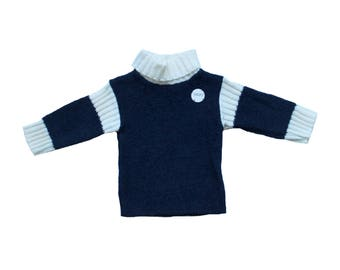 FRENCH VINTAGE 70's / for baby boys / sweater / pull over / navy blue and cream / new old stock / size 6 months