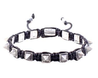 Pyramid Studs Macrame Bracelet