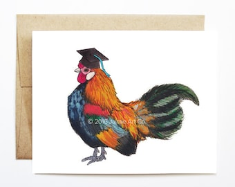 Graduation Card - Rooster, Grad Card, College Graduation, High School Grad, Congrats Grad, Congrats Card, Cute Animal Card, Rooster Card