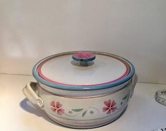 Vintage Casserole Serving Dish Glaze Pottery Signed