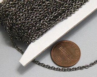 32 ft spool of Gunmetal plated soldered round cable chain 2.1x2.7mm