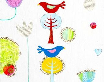 Two Little Birds, folk art, folk art print, bird art print, bird giclee print, colourful bird art, birds and flowers, whimsical art.