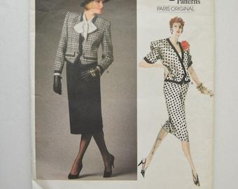 1980s UNCUT Vogue Paris Original Nina Ricci Pattern 1663 Womens Boxy Jacket & Straight Skirt Size 14