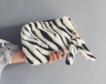 Free Shipping - Zebra Faux Fur Clutch