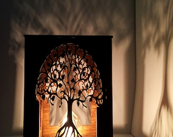 Table lamp - lamp - desk light - laser cut wood lamp - laser cut table lamp - night light - lantern - tree of life