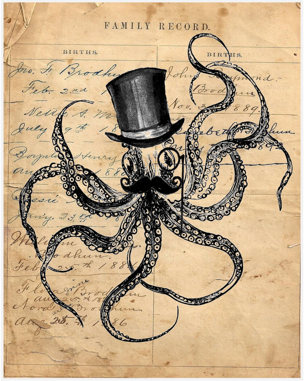 Octopus steampunk kraken tophat mustache ocean sea beach nautical ...