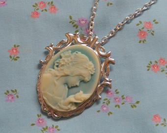 Little Girl with a Dove Cameo Silver Plate Necklace