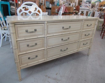 Faux Bamboo 9 Drawer Dresser
