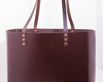 Cheryl - Large Leather Tote (Mahogany)