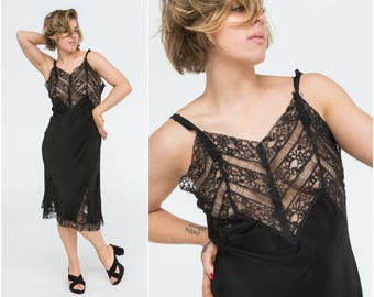 1950s Slip Dress with Lace Panels / Size 10-12