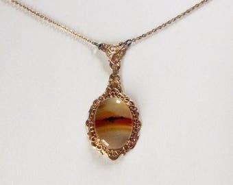 Art Deco gold filled filigree picture agate pendant choker necklace circa 1930s