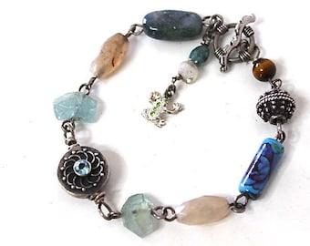 Blue topaz, Aquamarine, Labradorite, Frog Charm Sterling Silver Bracelet
