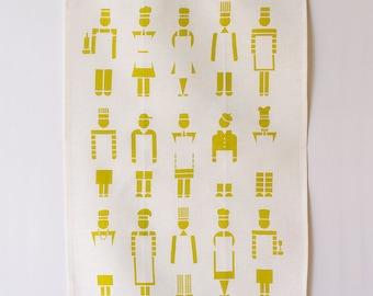 Linen Tea Towel - Too Many Cooks - Citron