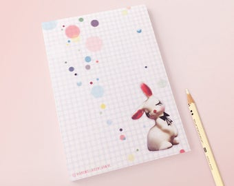 Colorful CONFETTI BUNNY Notebook / notepad / stationery / illustrative design / rabbit / confetti pattern / happy notes